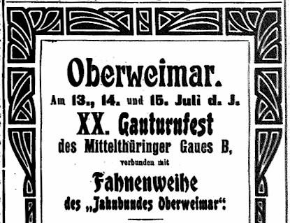 Zeitungsartikel von 1907 | Sportgeschichte Oberweimar