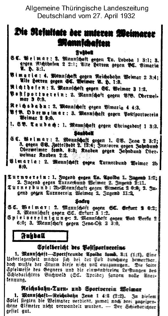 Allgemeine Thüringische Landeszeitung Deutschland vom 27. April 1932