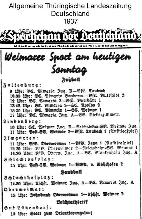 Allgemeine Thüringische Landeszeitung Deutschland 1937