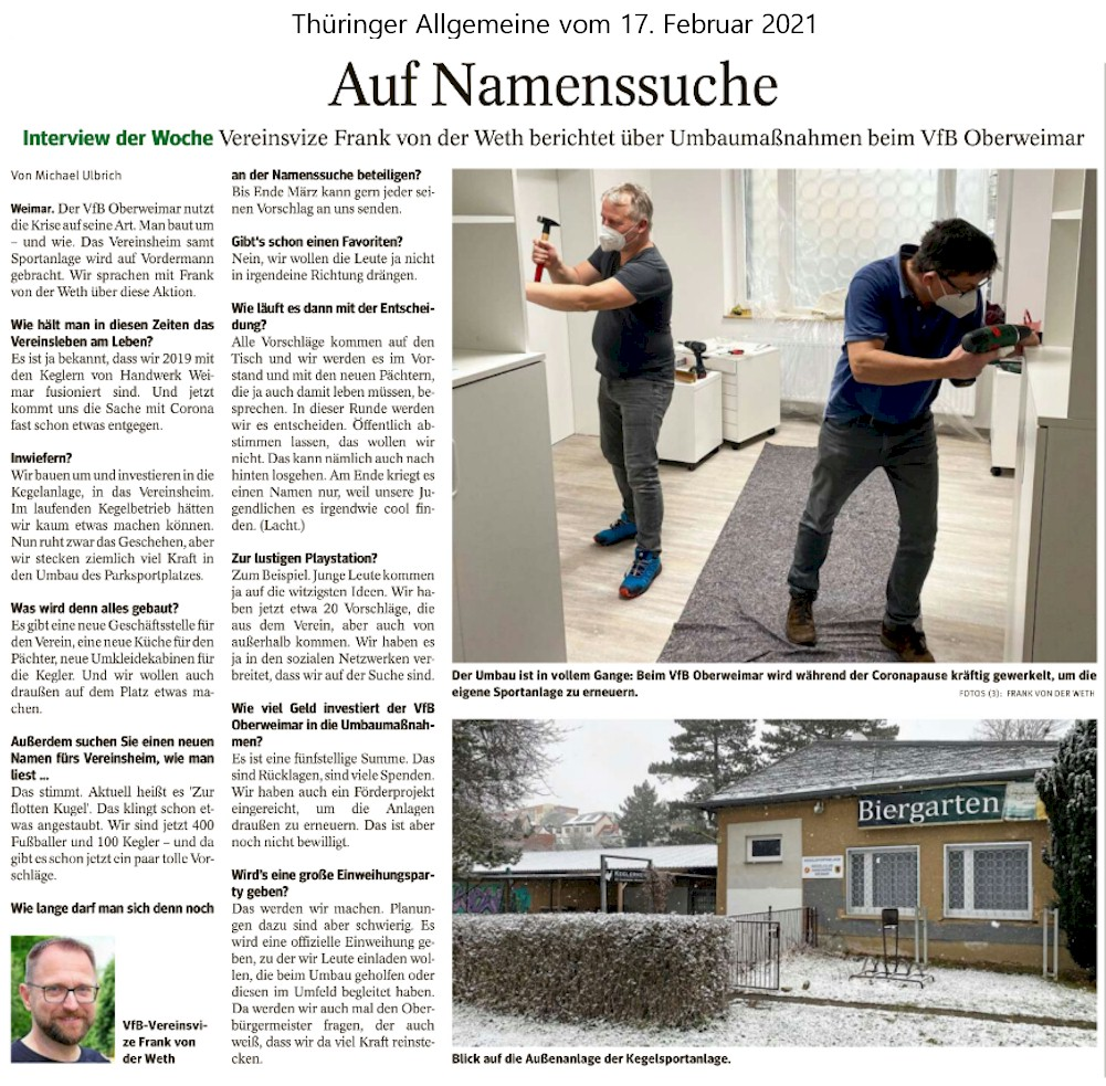 Artikel in der Thüringer Allgemeinen | VfB Oberweimar