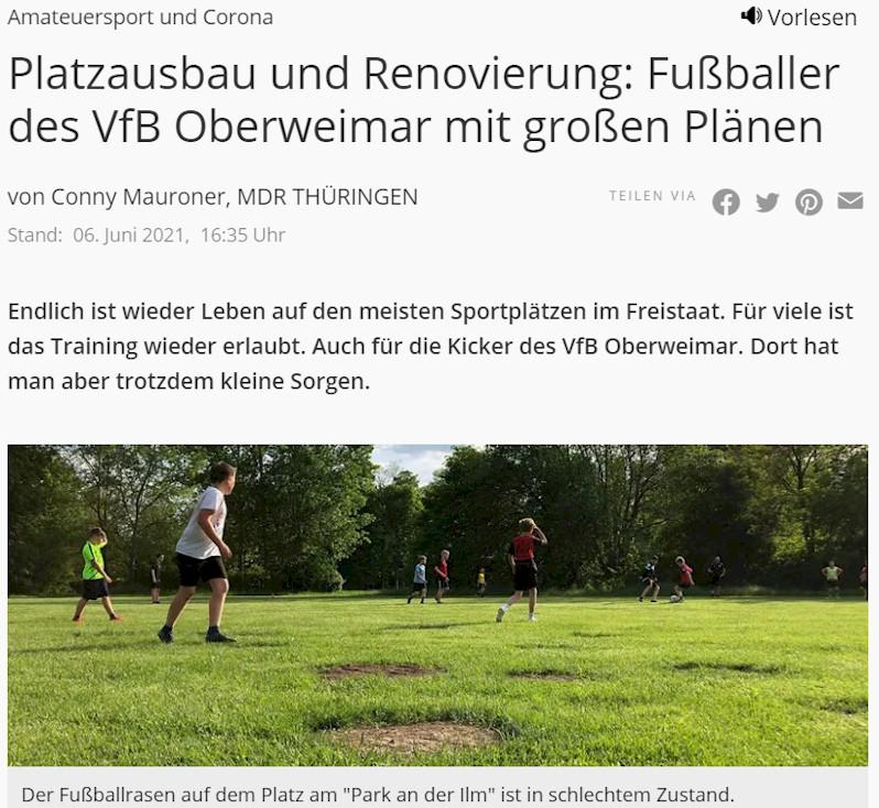 Bericht des MDR über den VfB Oberweimar