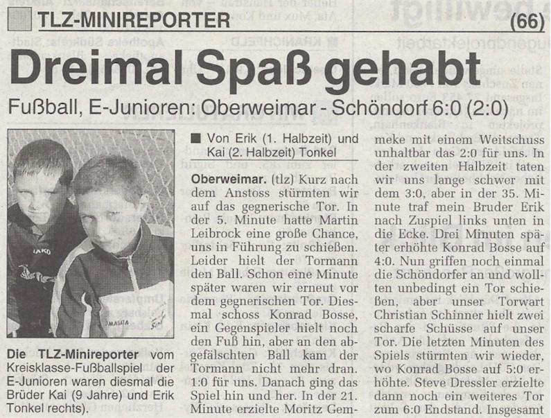 Presseartikel der Minireporter | Nachwuchsfußball | VfB Oberweimar