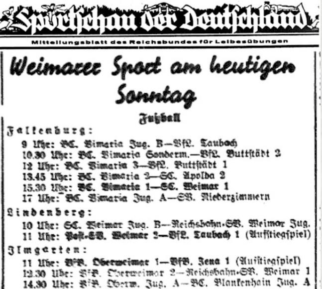 Presseartikel über den Fußball in Oberweimar aus den 1930-er Jahren