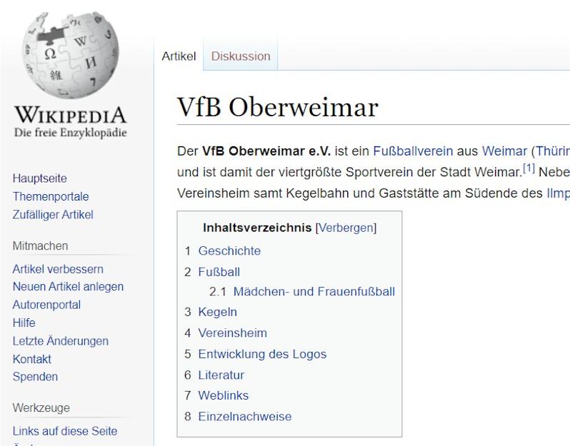 VfB Oberweimar in Wikipedia